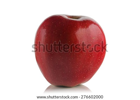 Red sweet , ripe apple on a white background.