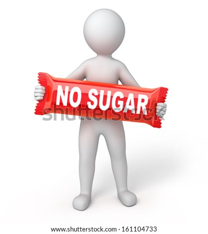 "red sweet with a title ""NO SUGAR"", 3d human and sweet. isolated on white with a work path"