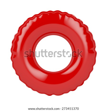 Red swim ring isolated on white - stock photo