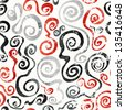 red swirls seamless pattern with grunge effect (raster version) - stock photo