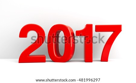 Red 2017 symbol, icons or button on white wall, represents the new year 2017, three-dimensional rendering, 3D illustration