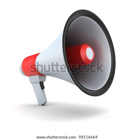 Red symbol megaphone (isolated, done in 3d) - stock photo