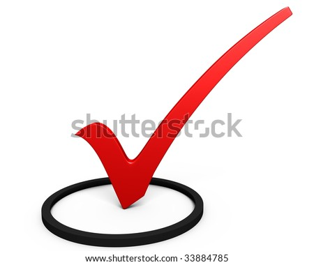 Red symbol of check mark on white background. 3D render. - stock photo