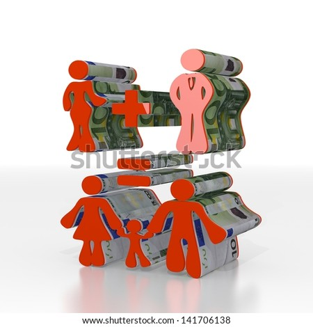 Red  symbolic calculation 3d graphic with cute family plan sign  with euro texture - stock photo