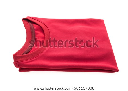 Red T shirt for clothing isolated on white background