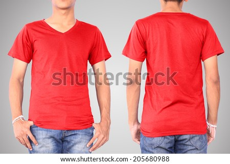 Red t-shirt on a young man template isolated on white background back and front. This has clipping path. - stock photo