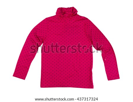 Red T-shirt with long sleeves with polka dots. Isolate on white. - stock photo