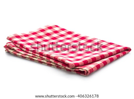 red table napkins on white background isolated
