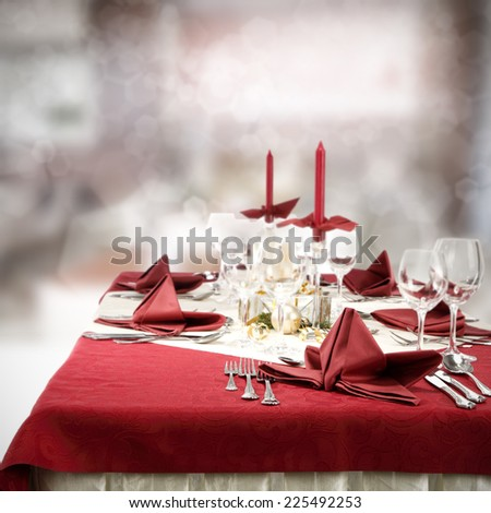 red table of restaurant