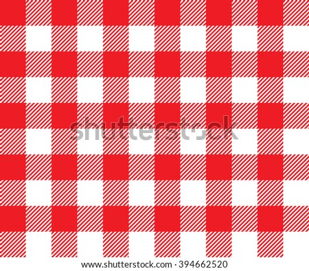 Red tablecloth background seamless pattern.Illustration of traditional gingham dining cloth with fabric texture. Checkered picnic cooking tablecloth. - stock photo