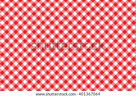 Red tablecloth diagonal background seamless pattern. Illustration of traditional gingham dining cloth with fabric texture. Checkered picnic cooking tablecloth. - stock photo