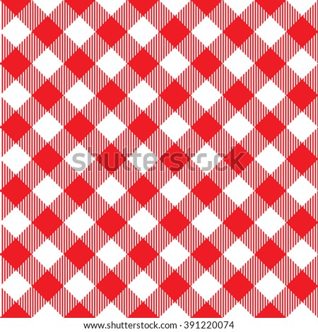 Red tablecloth diagonal seamless pattern. Illustration of traditional gingham dining cloth with fabric texture. Checkered picnic cooking tablecloth. - stock photo