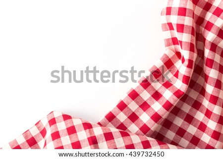 red tablecloth on white background,crumpled fabric on white background