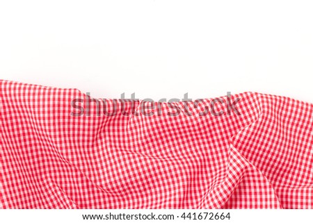 red tablecloth on white background,crumpled red fabric on white background