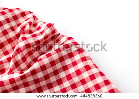 red tablecloth on white background,crumpled red tablecloth on white background