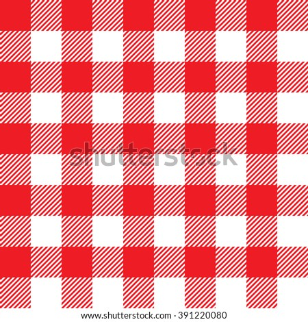Red tablecloth seamless pattern. Illustration of traditional gingham dining cloth with fabric texture. Checkered picnic cooking tablecloth. - stock photo