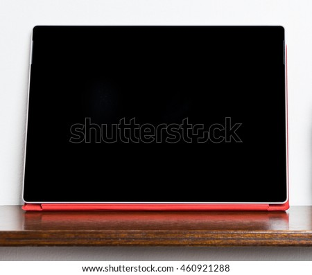 Red Tablet with blank screen for mock up