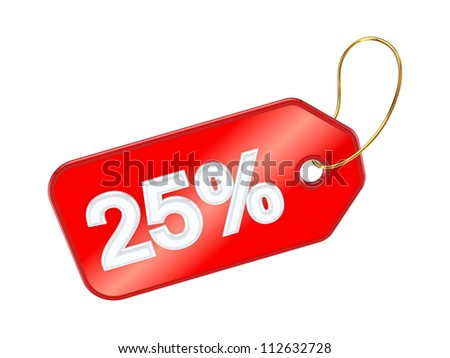 Red tag 25%.Isolated on white background.3d rendered. - stock photo