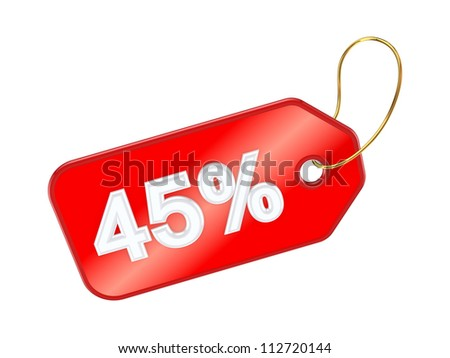 Red tag 45%.Isolated on white background.3d rendered. - stock photo