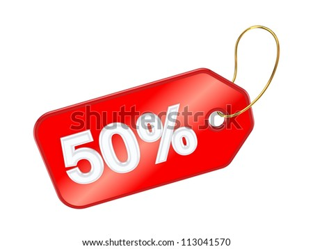 Red tag 50%.Isolated on white background.3d rendered. - stock photo