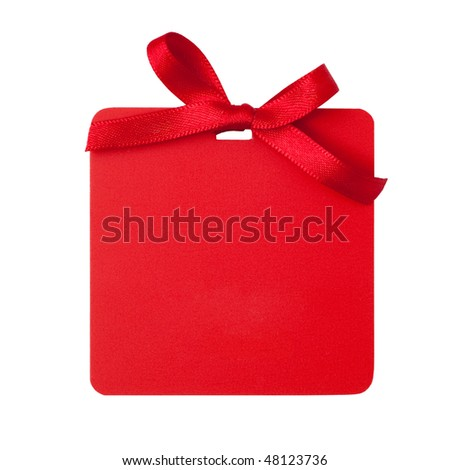 Red tag with bow  isolated on white - stock photo