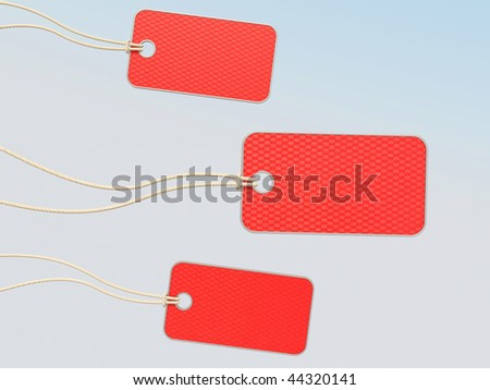 red tags on white background