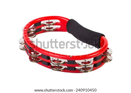 Red tambourine isolated on a white background - stock photo