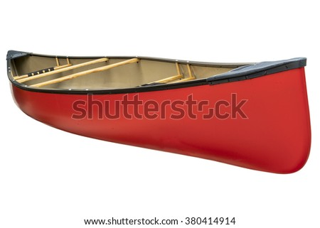 red tandem canoe with wood seats isolated on white with a clipping path - stock photo