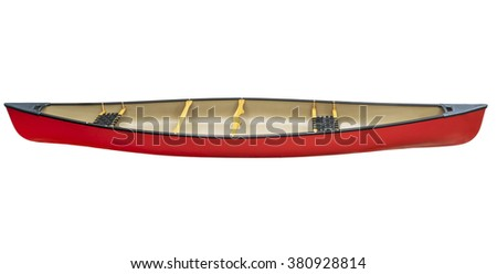 red tandem canoe with wood seats isolated on white with a clipping path, side view - stock photo