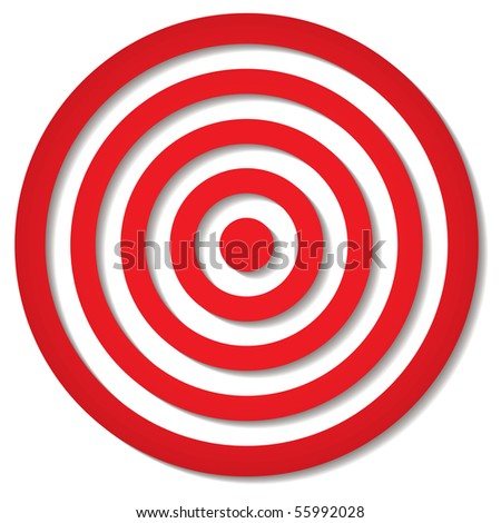 red target icon with drop shadow in circular design - stock photo