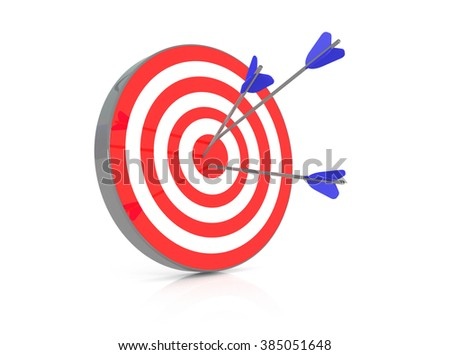 Red target with 3 arrows in the bullseye, 3d illustration