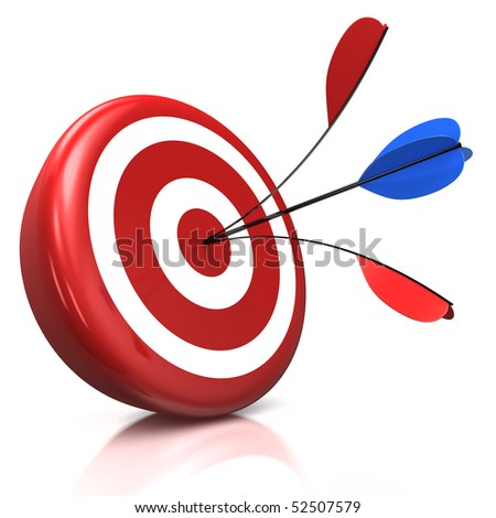 red target with one arrow split by a second one, both hit right in the middle - 3d illustration/render
