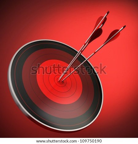 red target with three arrows hitting the bull's eye, red background with light effect, square image. - stock photo