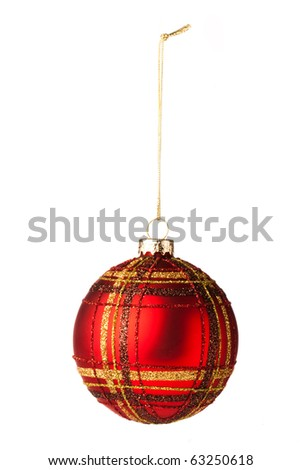 Red Tarten Christmas tree bauble on white background - stock photo