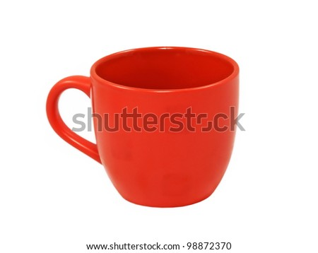 Red tea cup isolated on white background.