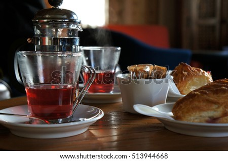 Red tea in french press
