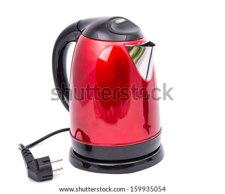 red teapot isolated on a white background - stock photo