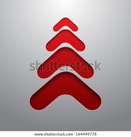 Red techno 3d christmas tree - stock photo