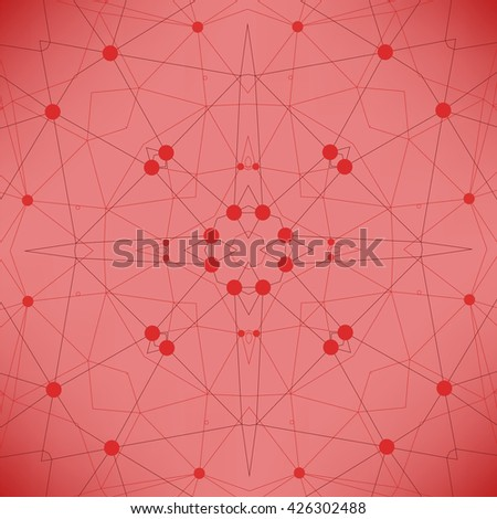 Red Technology Background with Particle, Molecule Structure. Genetic and Chemical Compounds. Communication Concept. Space and Constellations. - stock photo