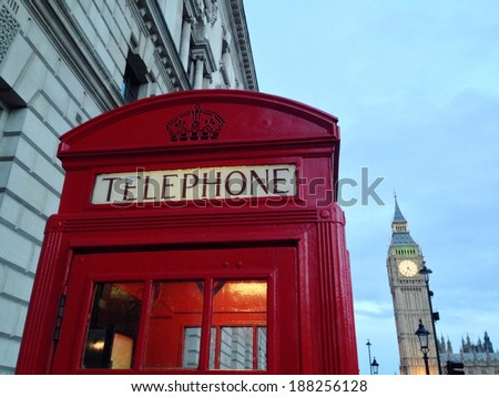 Red Telephone Booth, Big Ben and Houses of Parliament are the most well-known symbols of  London.  - stock photo