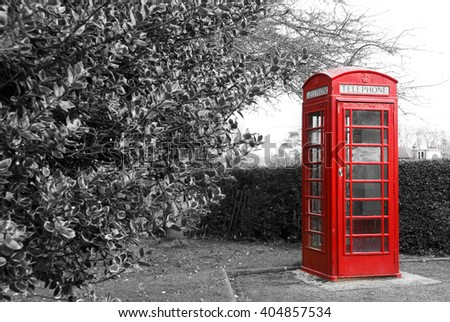 Red telephone booth in England - stock photo