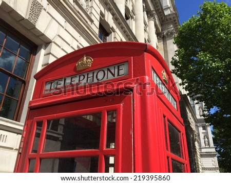 Red Telephone Booth is one of the most well-known symbols of  London. - stock photo