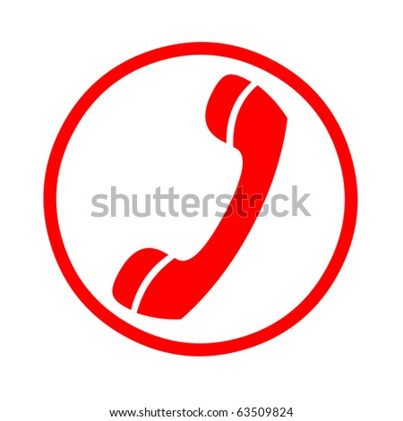 Red Telephone booth sign - stock photo