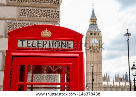 Red telephone box near Big Ben. London, England - stock photo