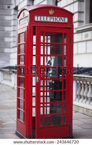Red telephone box, UK - stock photo