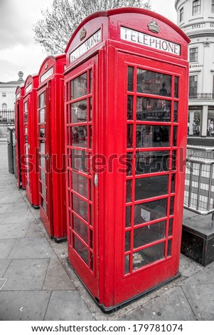 Red Telephone Boxes, Westminster,  London, United Kingdom - stock photo