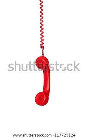 Red telephone cable hanging isolated on white background - stock photo