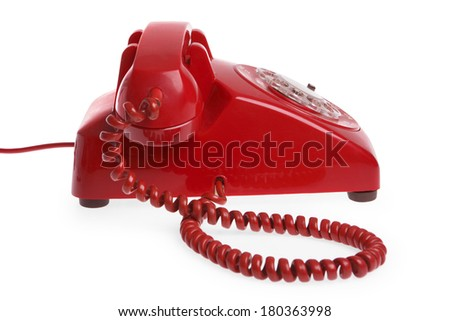 Red Telephone on white background - stock photo