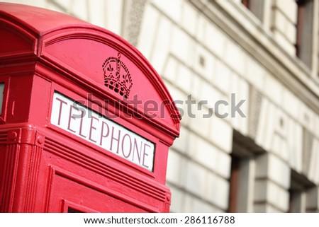 Red telephone phone box in London, United Kingdom,uk - stock photo