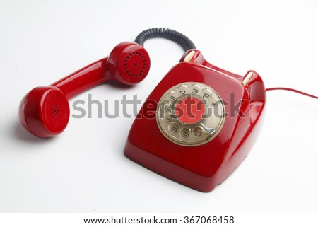 red telephone vintage - stock photo